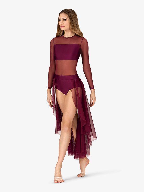 Adult Long Sleeve High-Low Dance Performance Dress