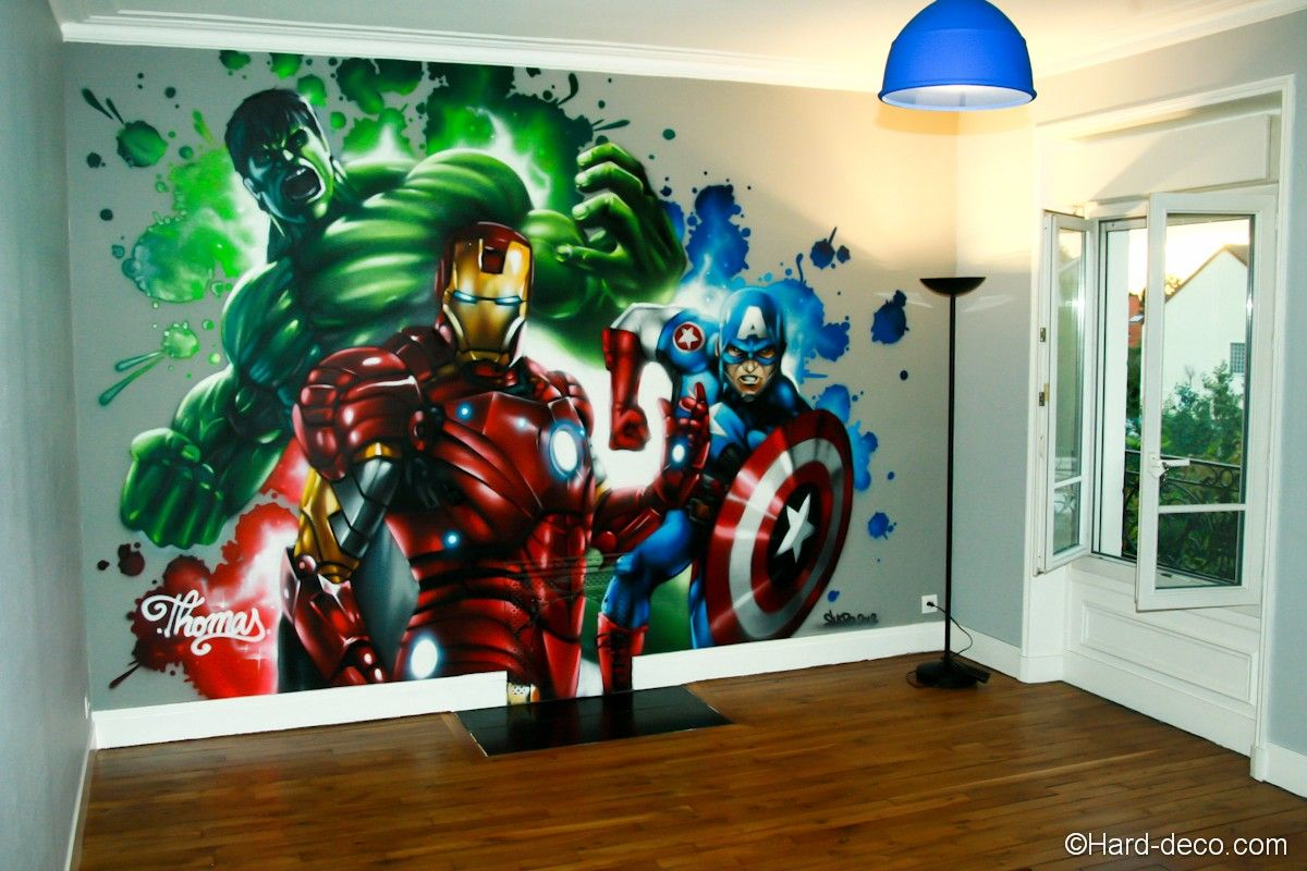 fresque marvel avengers graffiti chambre enfants pinterest. Black Bedroom Furniture Sets. Home Design Ideas