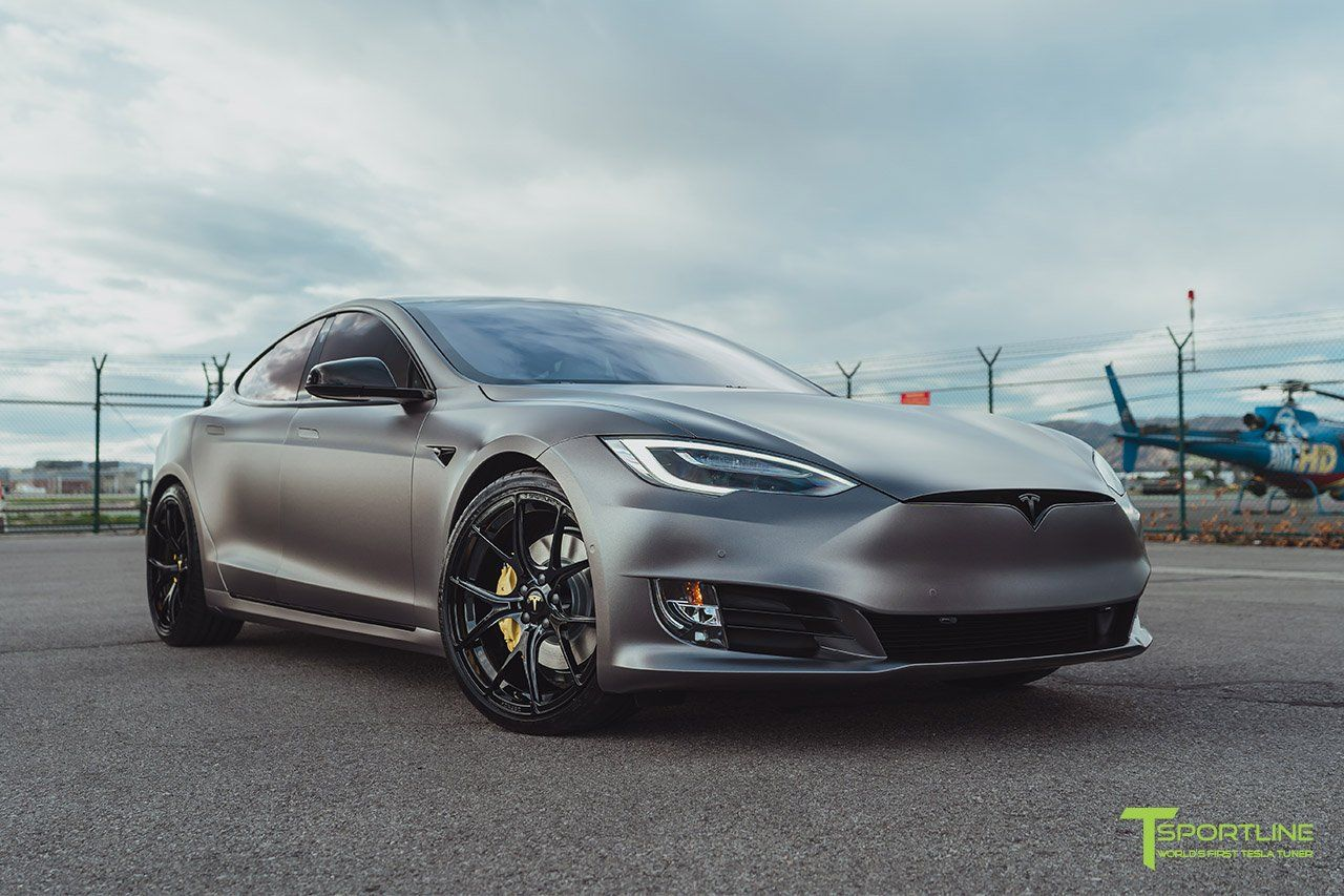 Satin Dark Gray Tesla Model S 2 0 With Gloss Black 21 Ts115 Tesla Model Tesla Model S Tesla