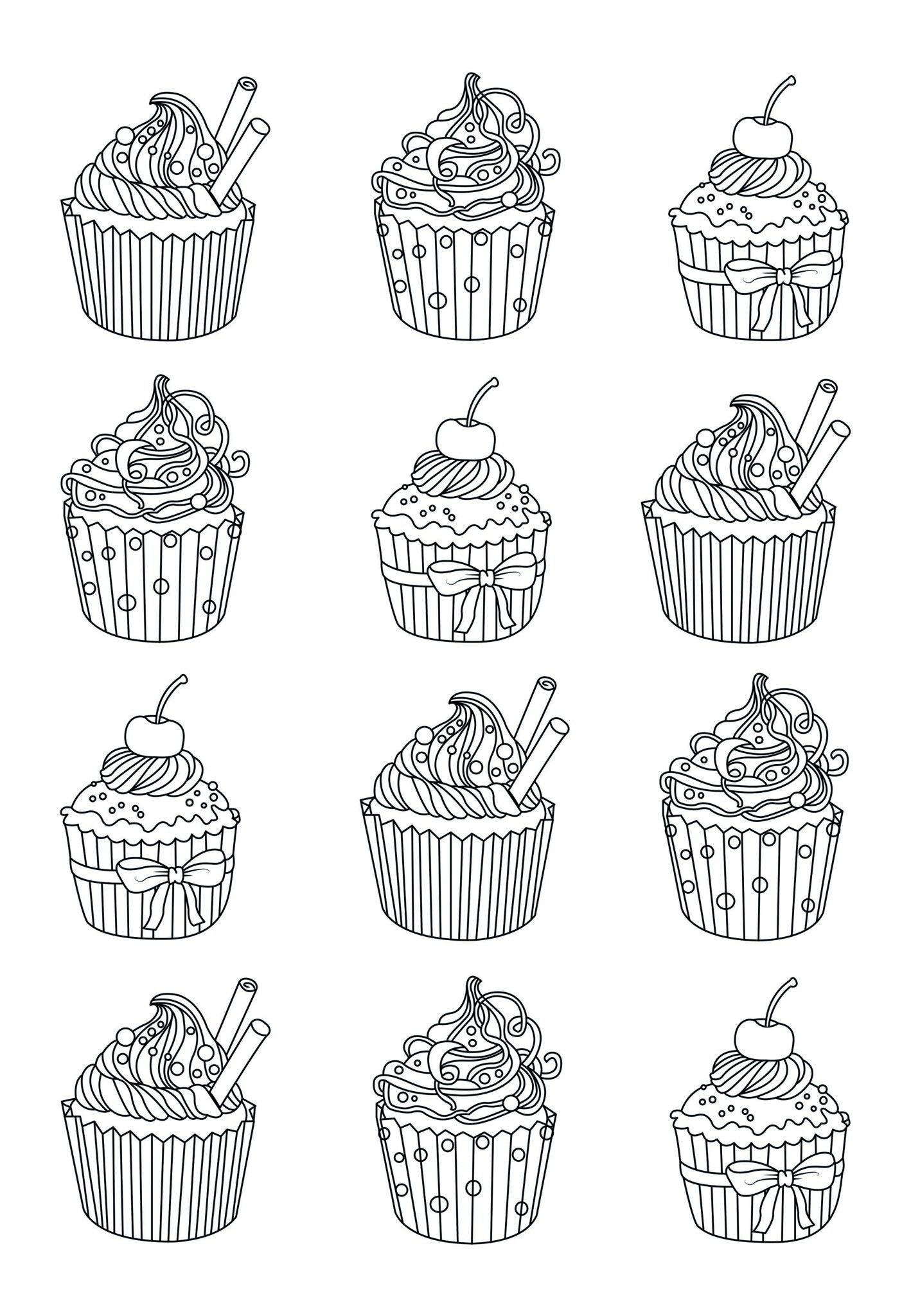 Adult Coloring Page Of Cupcakes Cupcake Coloring Pages