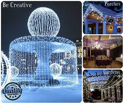 24m 960 Led Bright White Snowing Icicle Lights Indoor Outdoor Christmas Lights White Christmas Lights Outdoor Fairy Lights Christmas Fairy Lights