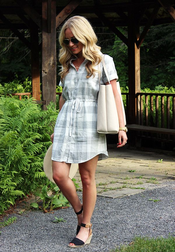 fc0e19f0bd42 Grey and white gingham dress