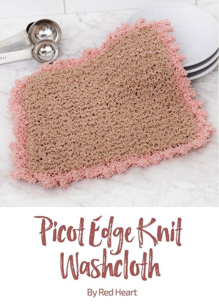 Picot Edge Knit Washcloth free knit pattern in Scrubby Cotton Yarn ...