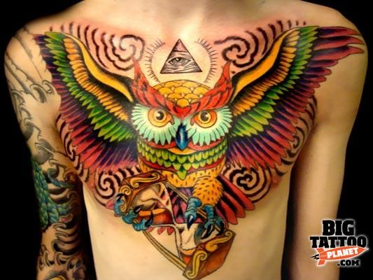 Tattoo By Rob At Squid Ink Tattoo Colour Tattoo Big Tattoo Planet Big Tattoo Planet Colorful Owl Tattoo Chest Piece Tattoos