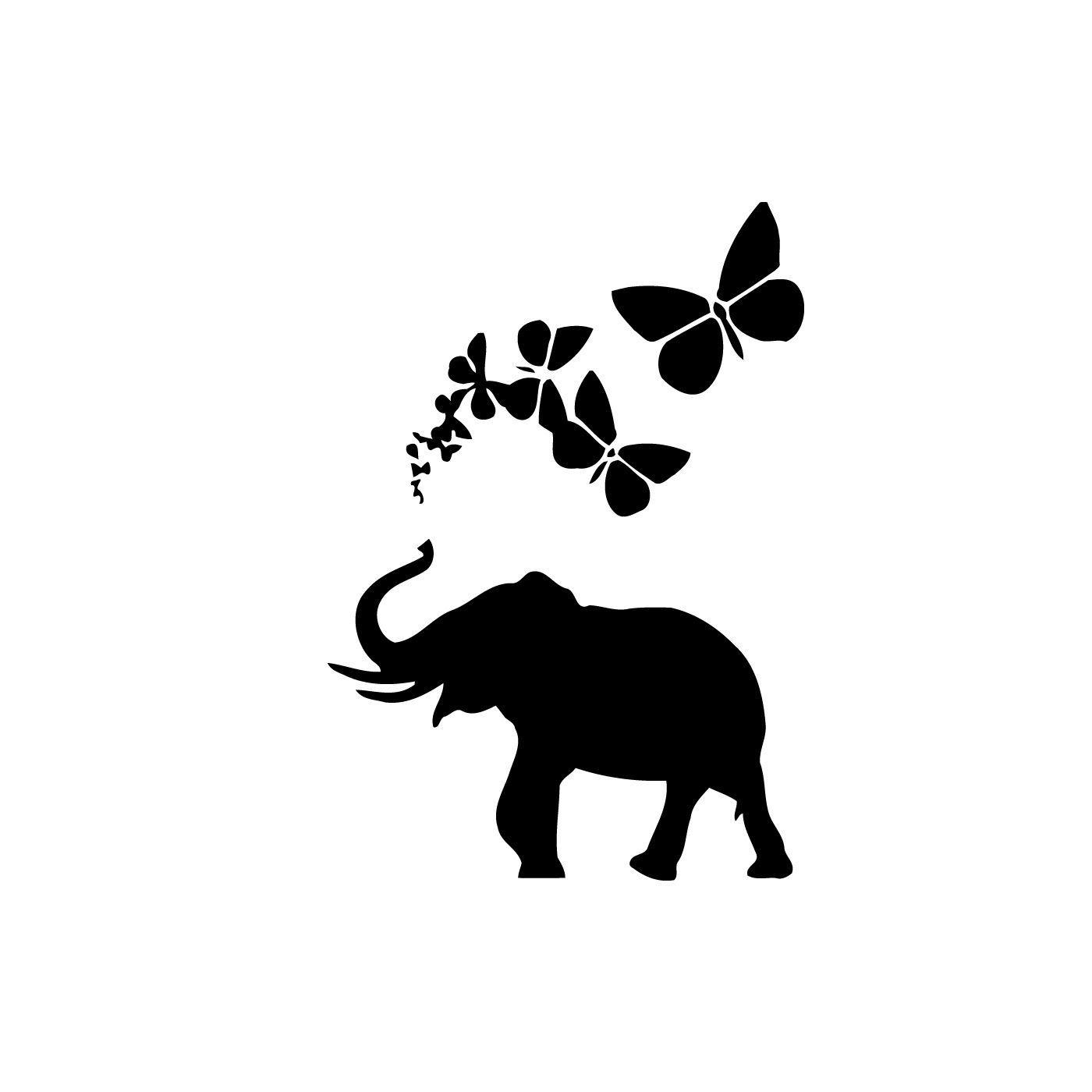 li>Title: Elephant with Butterflies</li><li>Materials: Vinyl</li><li ...