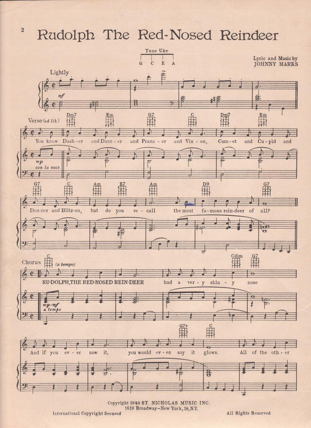 Printable Rudolph Christmas Sheet Music Christmas sheet