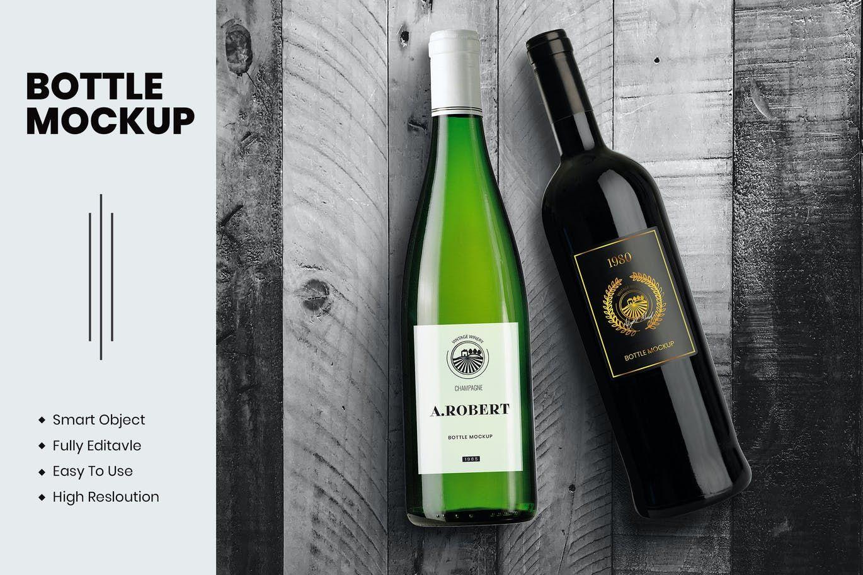 Wine bottle mockup psd free