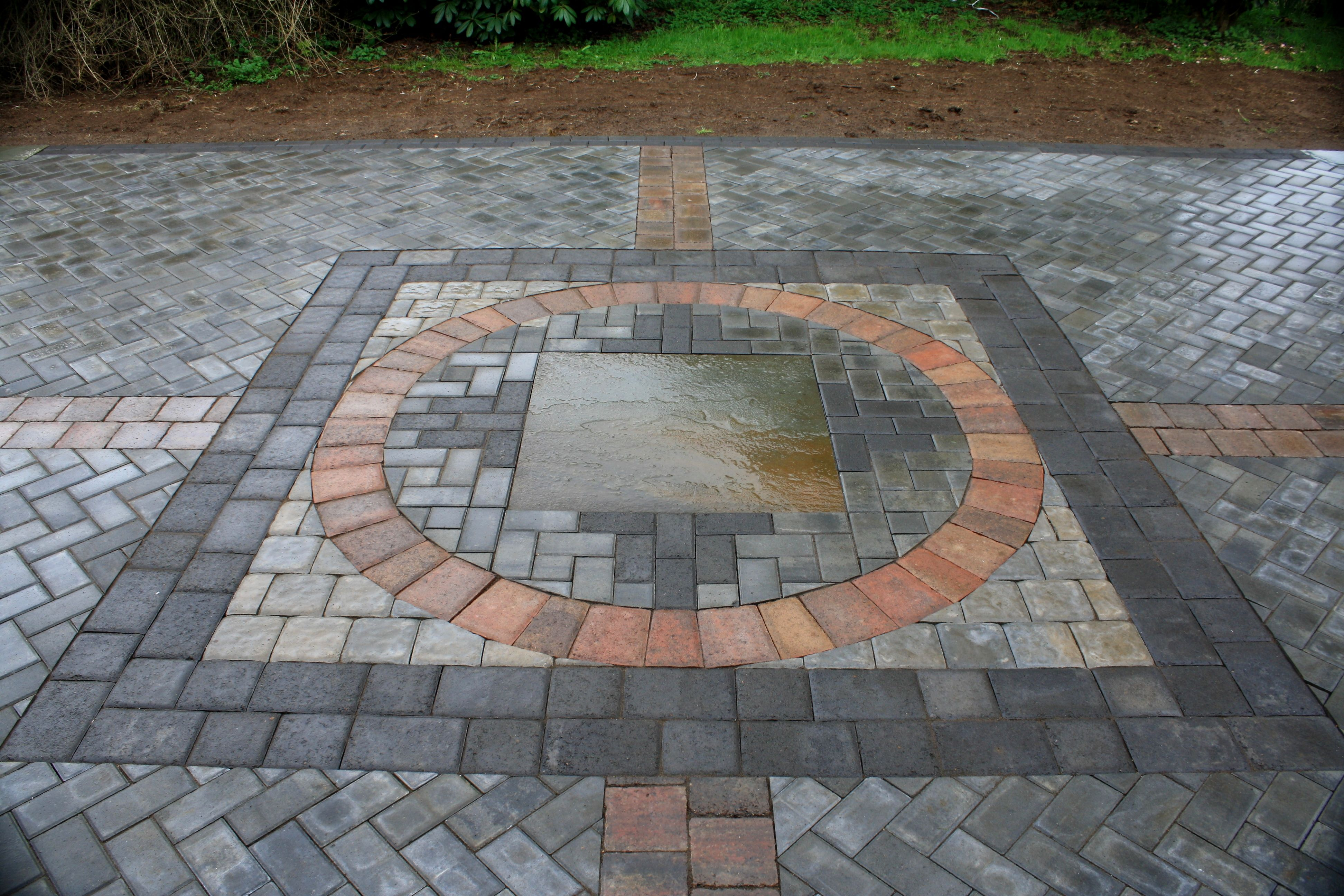 Paver patio with 7 different styles of pavers and dimensional