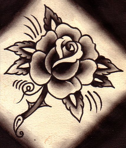 Old School Traditional Rose Tattoo Black And Grey