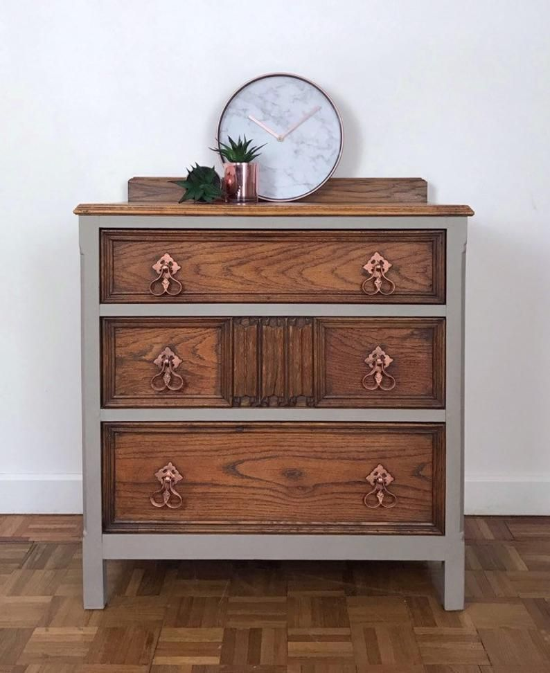 Stone Grey Rustic Oak Chest Of Drawer, Matching Bedroom ...
