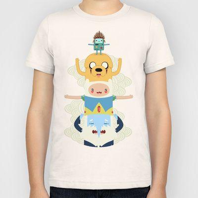 Adventure Totem   Adventure Time Kids T-Shirt by Daniel Mackey - $20.00 #T-Shirt