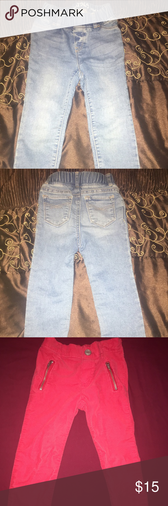Girls toddler pants bundle ❤️💙 Like new jeans for girls. Very light wear. Red corduroy pants with silver details and light denim blue jeans Carter's Bottoms Jeans