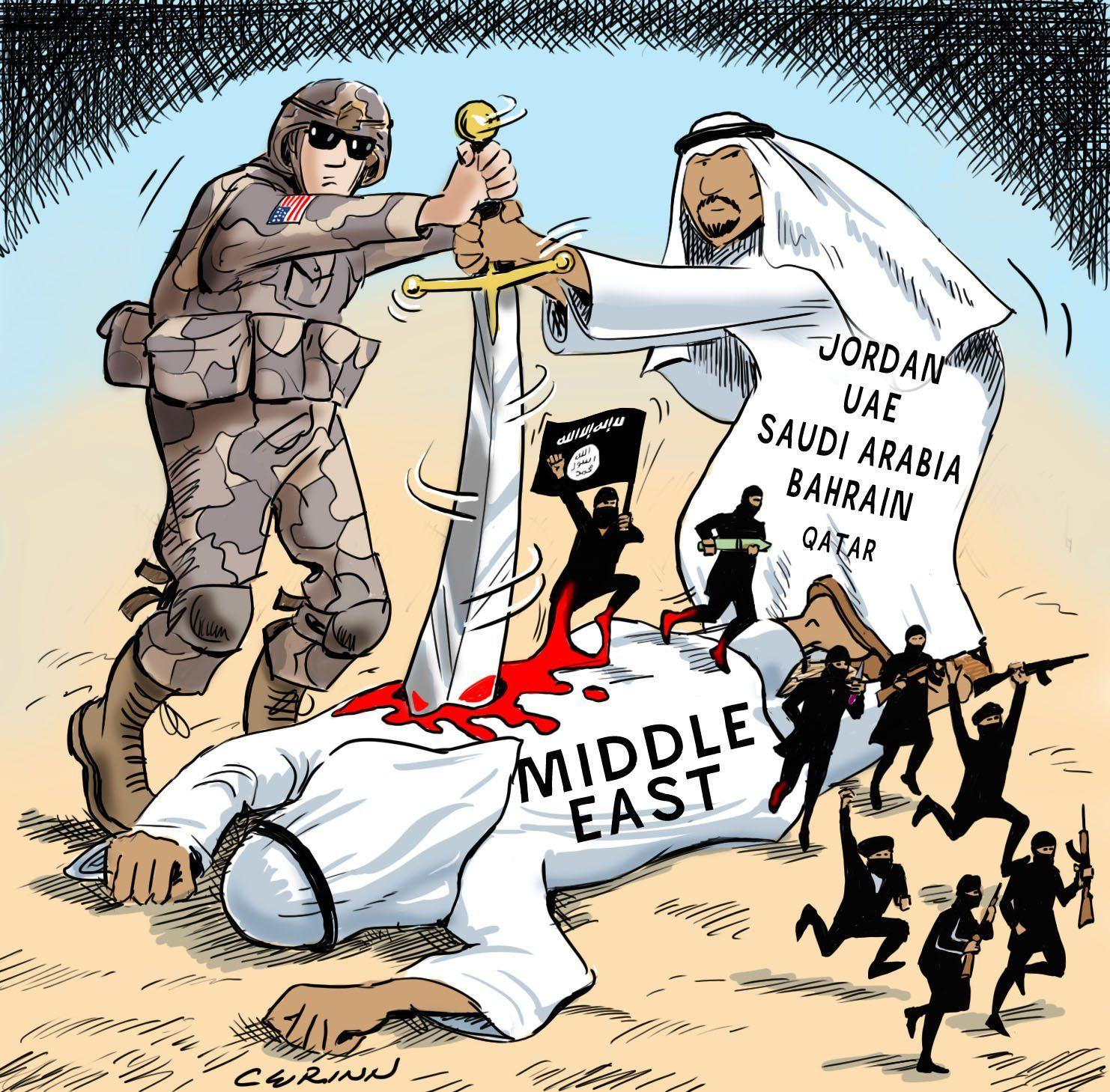 Image result for CARICATURE of trump, israel, saudis