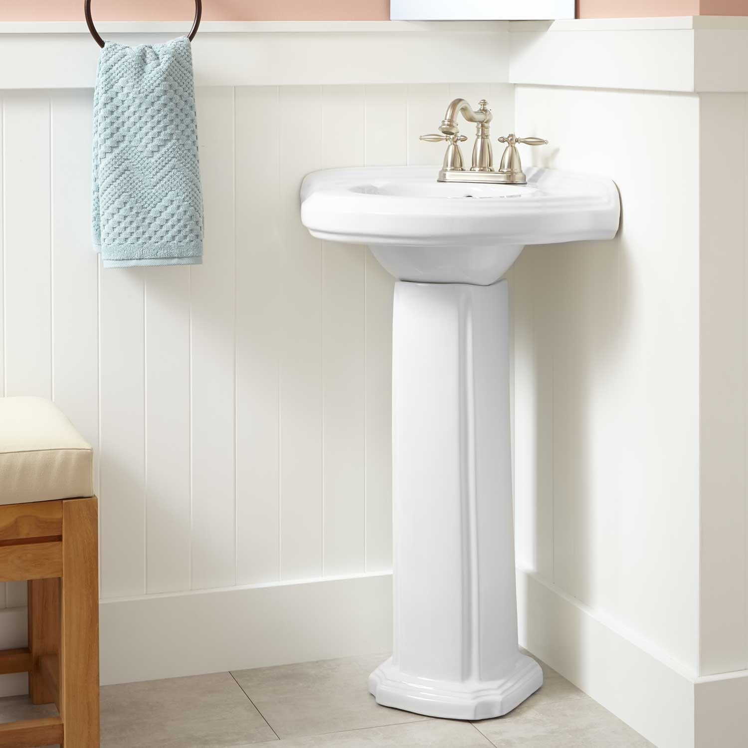 Gaston Corner Porcelain Pedestal Sink In 4 Centers In White