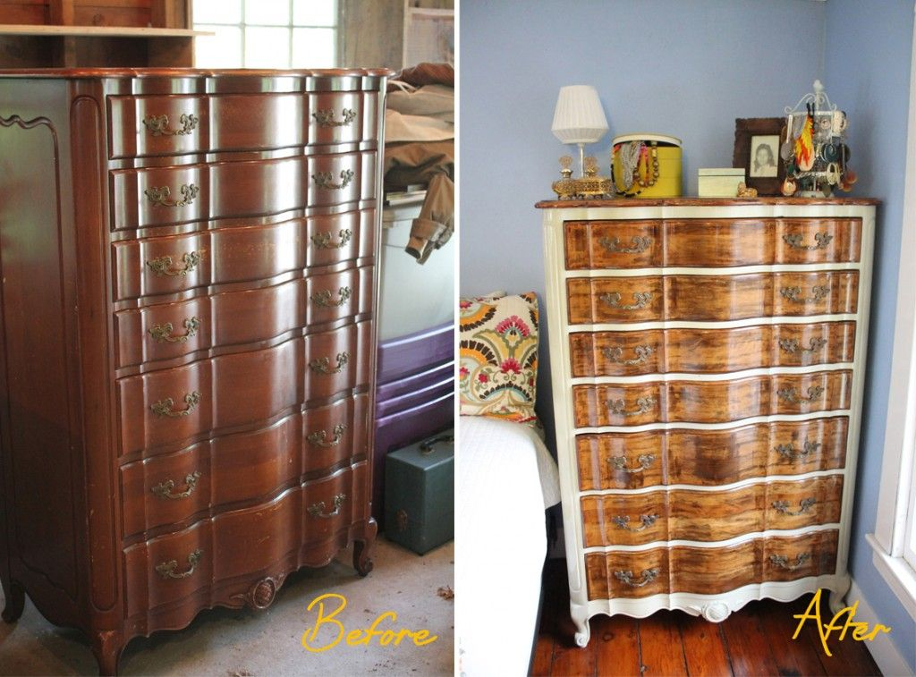 wood finish dresser before and after