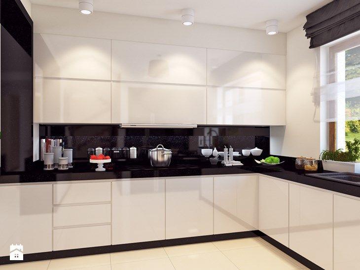 Dom w stylu glamour - Średnia otwarta kuchnia w kształcie litery l w aneksie, styl nowoczesny - zdjęcie od APP TRENDY Autorska Pracownia Projektowa