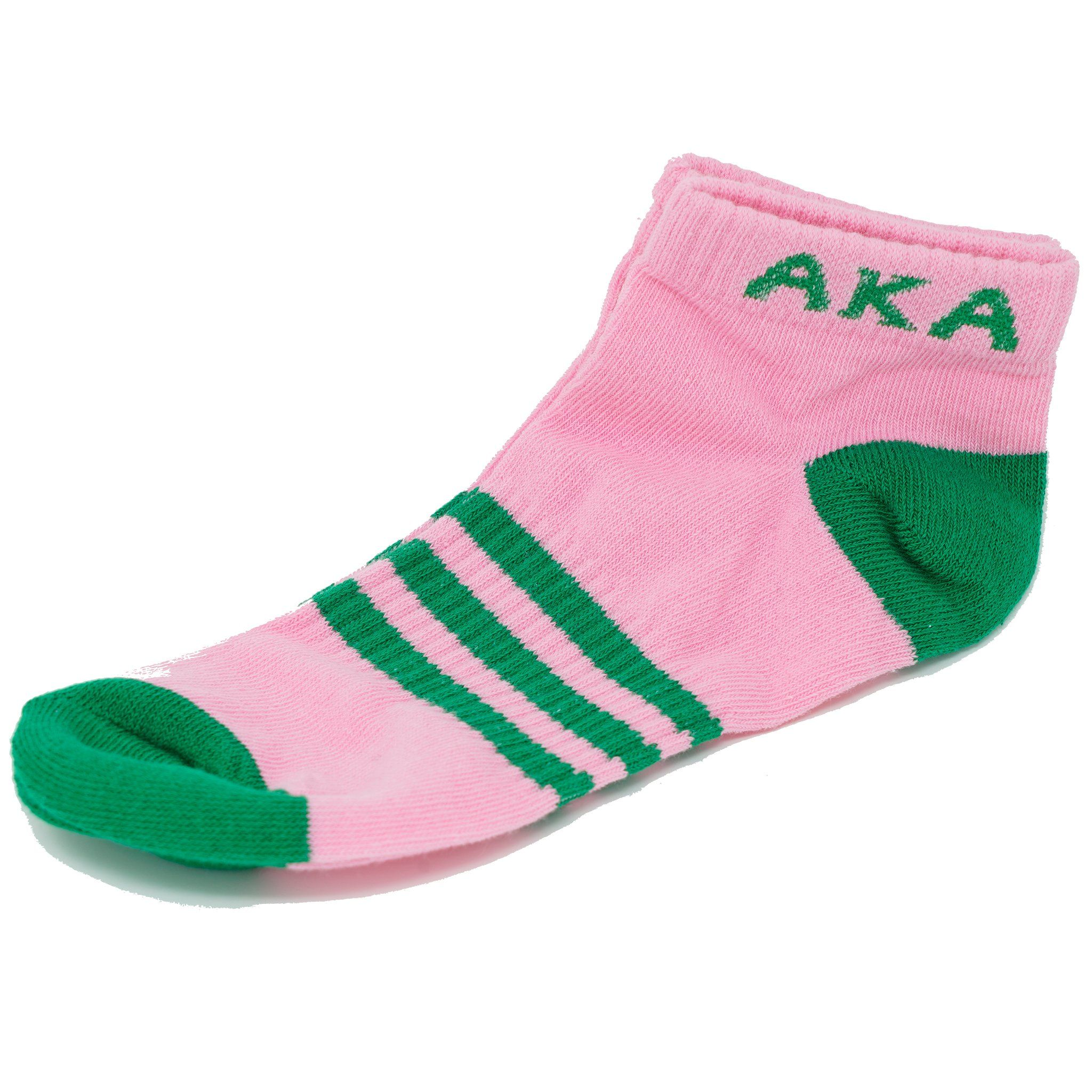 Alpha Kappa Alpha AKA 3 Stripe Ankle Socks with Arch Support