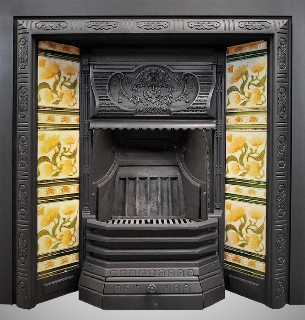A Lovely Victorian Tiled Fireplace With Yellow Floral Tiles Victorian Fireplace Victorian Tiles Antique Fireplace