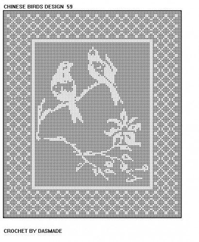 Chinese Birds Filet Crochet doily tablecloth pattern 59 | Filet ...