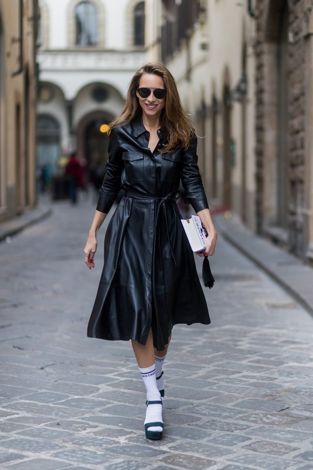 657de5d7 FLORENCE, ITALY - JANUARY 11: German fashion blogger and model Alexandra  Lapp, wearing a leather shirt dress from Set Fashion, white tennis socks  with ...