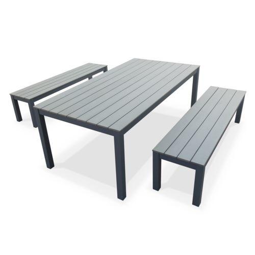 Salon de jardin Antibes table 200cm 8 places Gris polywood bois ...