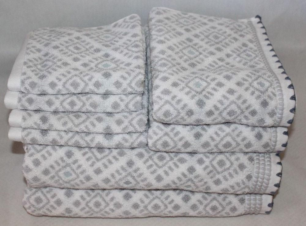 Peri Home Eight Piece Bathroom Towel Set Gray White 100 Cotton