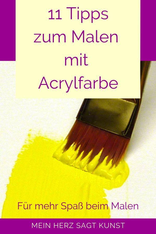 Acrylmalerei lernen - 11 Tipps zum Malen mit Acrylfarbe. Acrylfarbe ist ein tolles Malmedium und sehr beliebt bei Profi- und Hobby-Künstlern. Im Blogbeitrag erhältst du 11 Tipps zum Malen mit Acrylfarbe, für mehr Spaß beim Malen :-) #malen #acrylmalerei #acrylfarbe