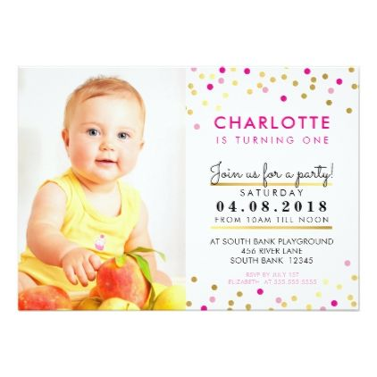 confetti birthday party invite pink gold spot girl birthday gifts