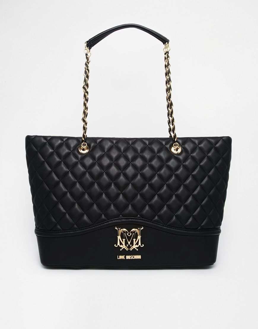 Love Moschino Large Quilted Shopper Bag in Black at asos.com