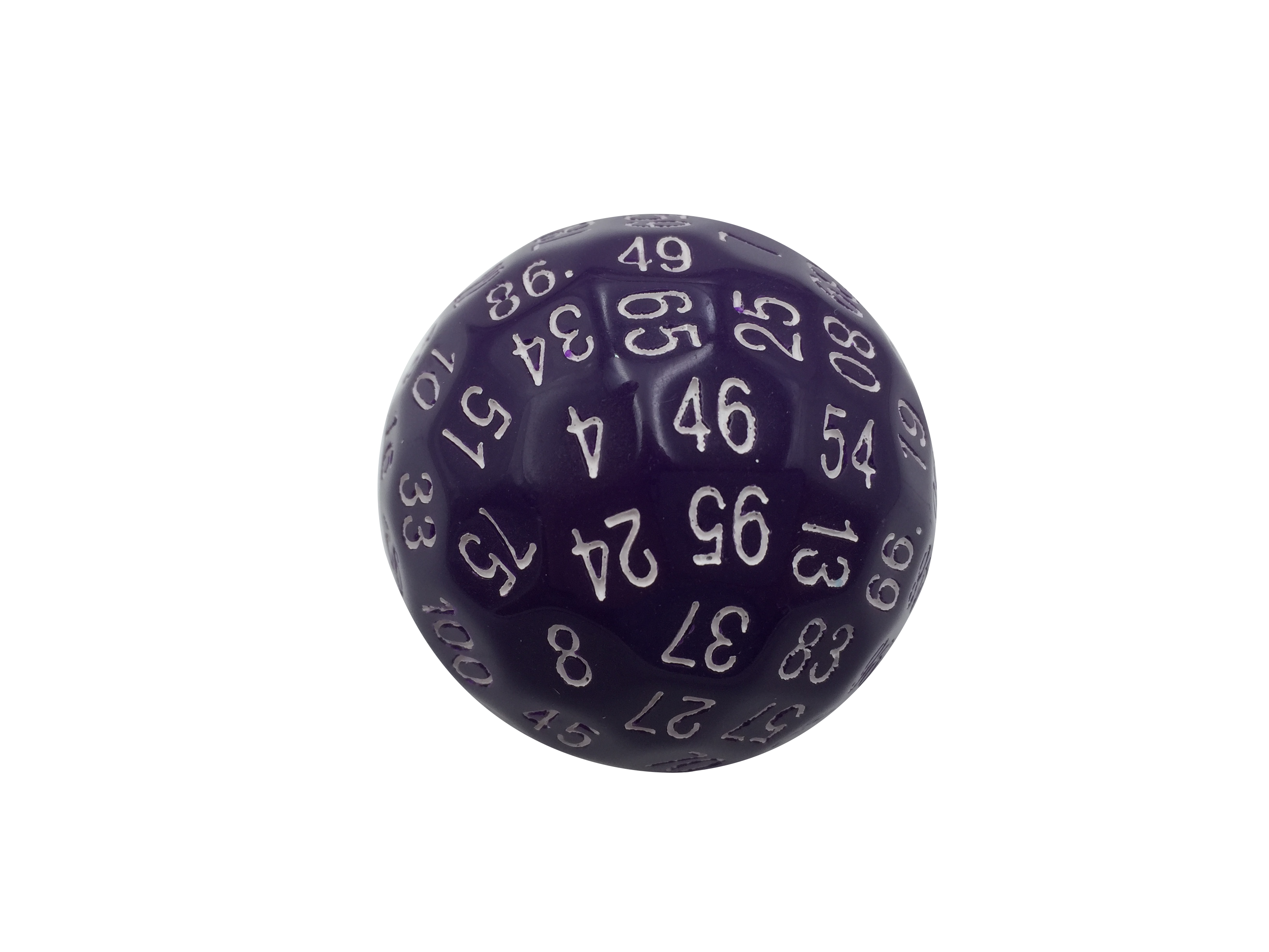 Single 100 Sided Polyhedral Dice D100 Solid Purple Color With White Numbering 45mm Purple Color Polyhedral Dice Purple