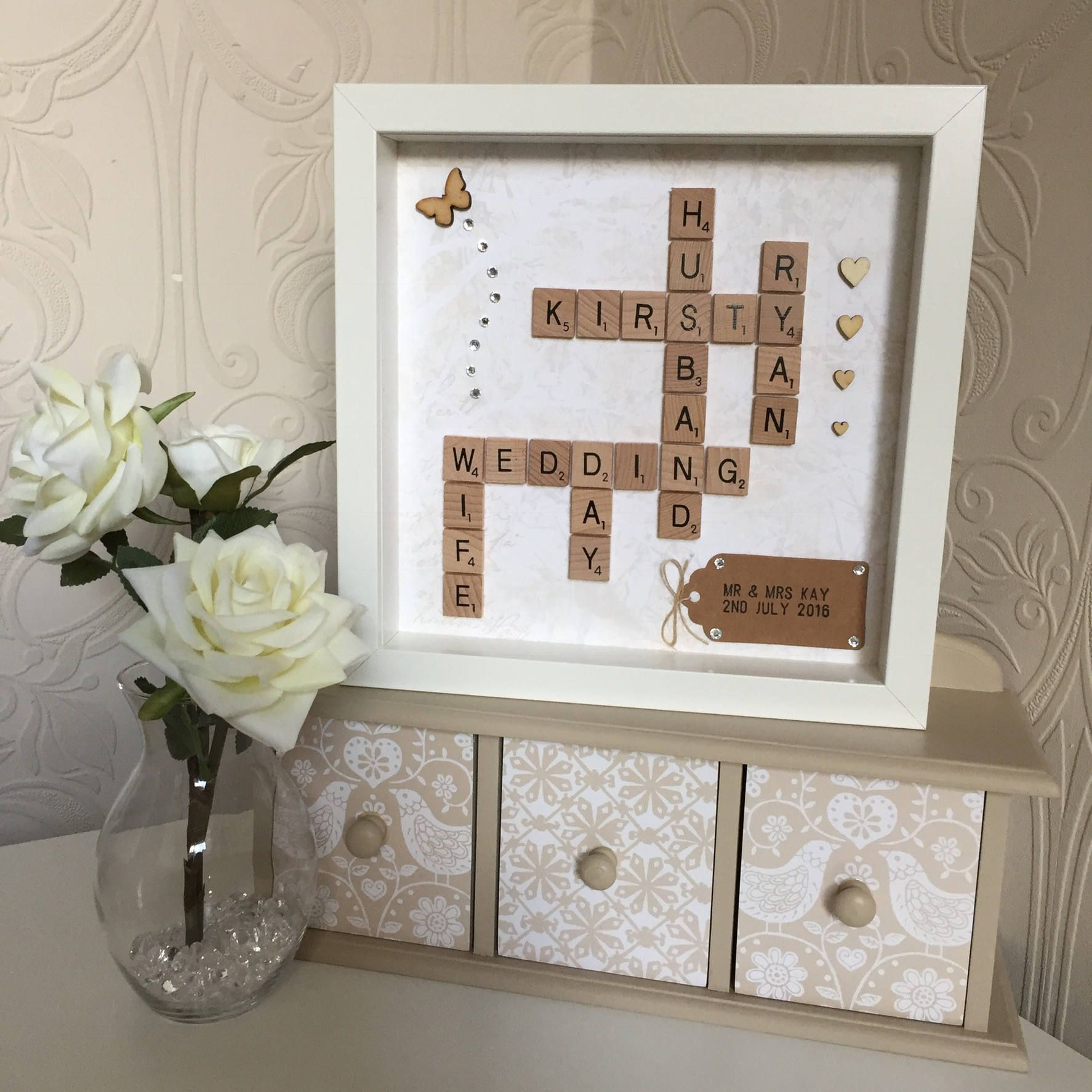 Wedding anniversary decoration ideas at home  Personalised Scrabble Art Wedding Day Frame Personalised Wedding