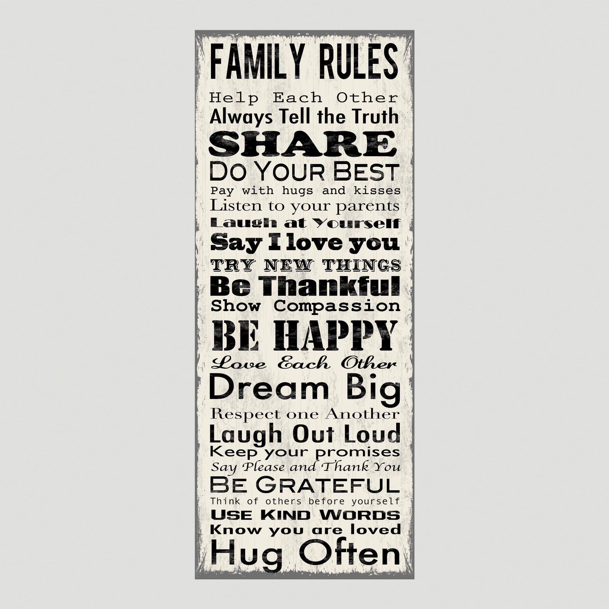 Family Rules Wall Art family rules canvas wall art decal | family rules, wall art decal