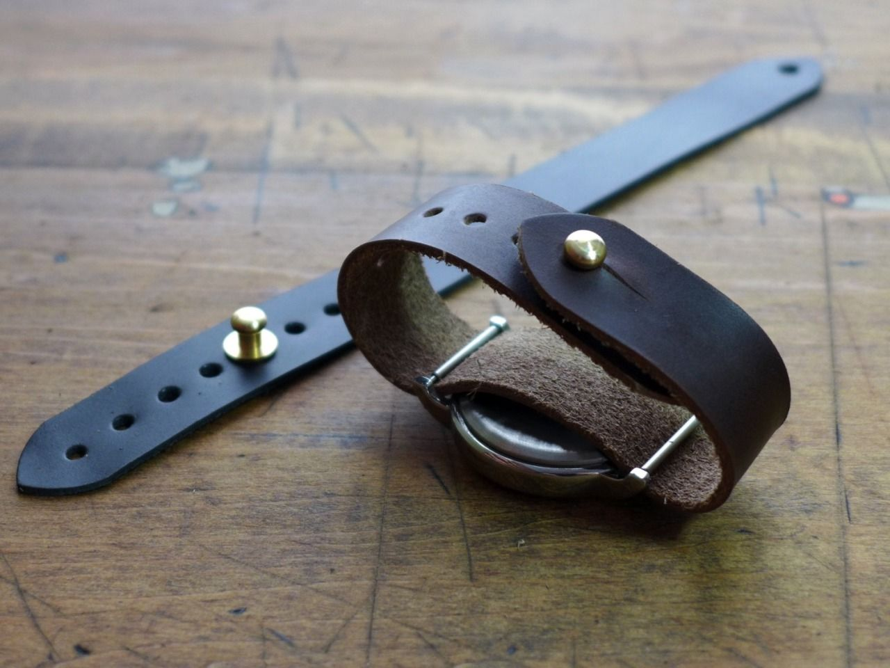Pass Through Button Stud Watch Strap By Age Leather Goods Joias