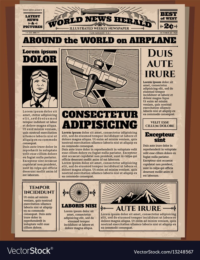 Old Newspaper Vintage Newsprint Vector Template Retro Newspaper With World News Illustration Of Vintage Newspaper Newspaper Template Word Newspaper Template