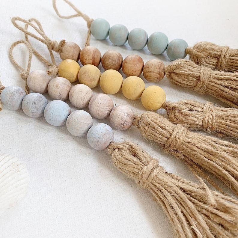 5 Mini drawer pull for coastal living; Seafoam, whitewash, sea glass, wooden bead tassel for door knob; Coastal door knob tassels with beads