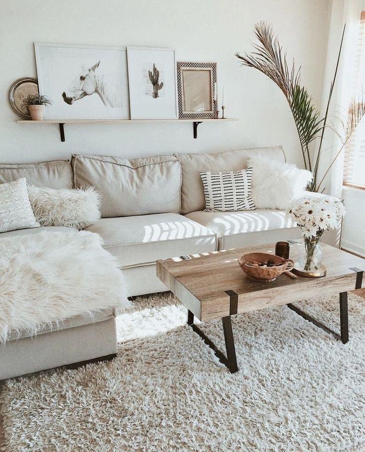 Neutral Boho Living Room #home #style