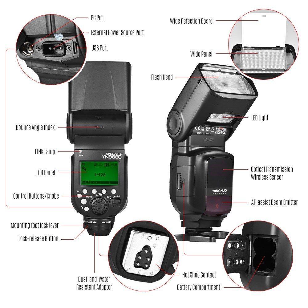 Yongnuo Yn968c Wireless Ttl Flash Speedlite 1 8000s Hss Built In Led Light 5600k For Canon Dslr Cameras Compatible With Yn622c Yn560 Wireless System Dslr Camera Canon Dslr Camera Cameras And Accessories