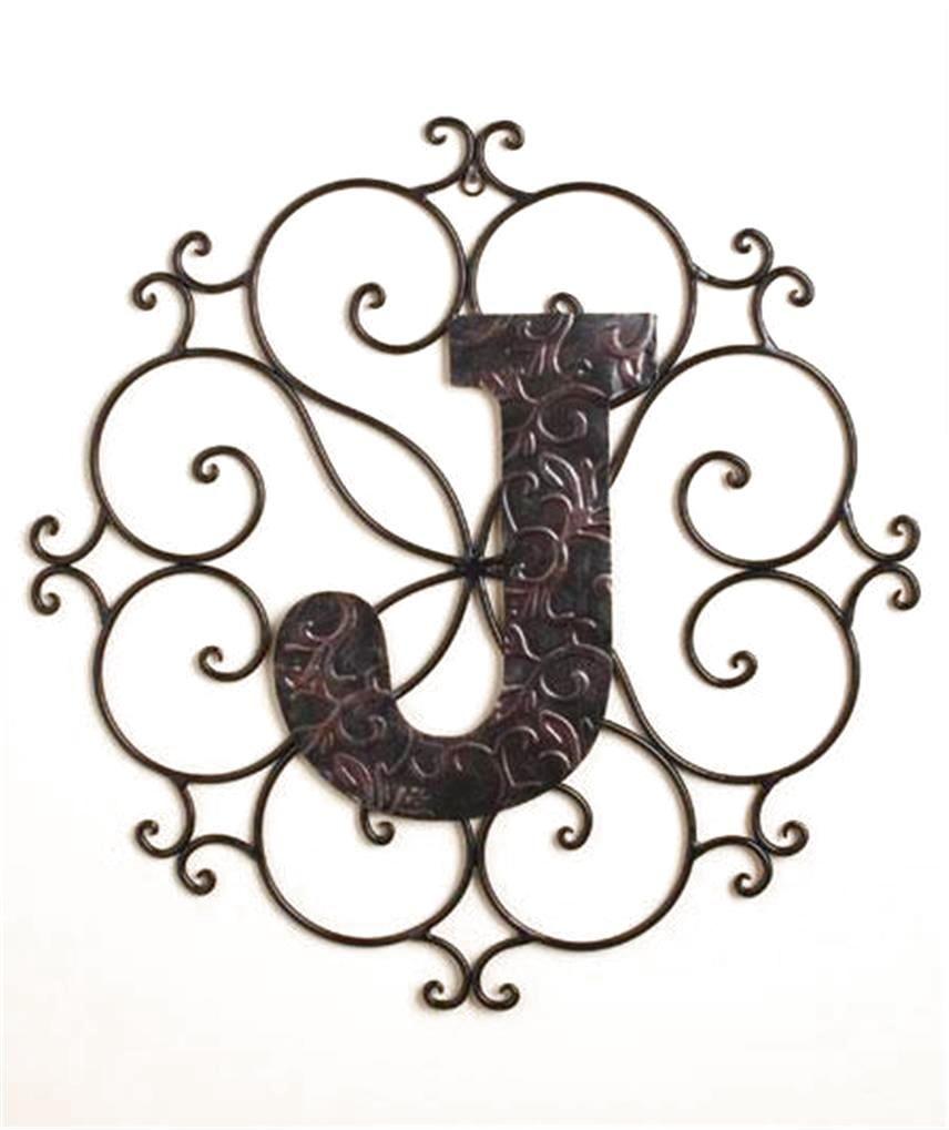 Letter J Wall Art Monogram Bronzelook Metal Wall Art Hanging Decor Scrollwork Frame