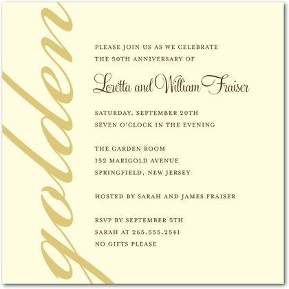 Signature ecru anniversary party invitations golden celebration shutterfly stopboris Gallery