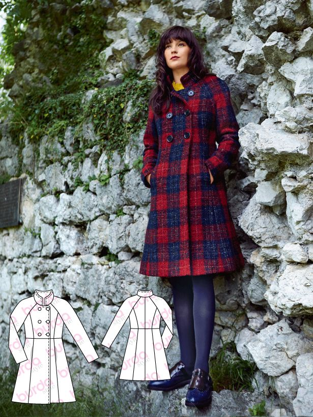 Women Double Breasted Midi Long Check Plaid Wool Pea Coat