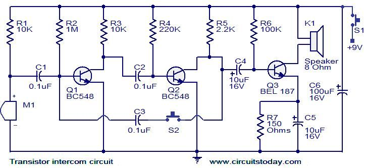 Transistor intercom circuit  | Todays Circuits ~ Engineering