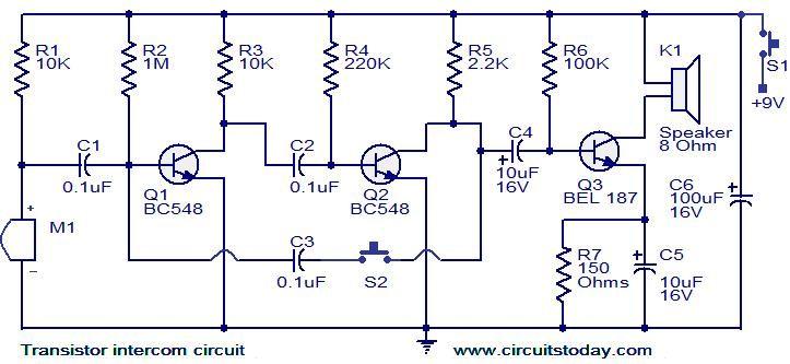 Transistor intercom circuit – Intercom Wiring Diagram Of Unit 10