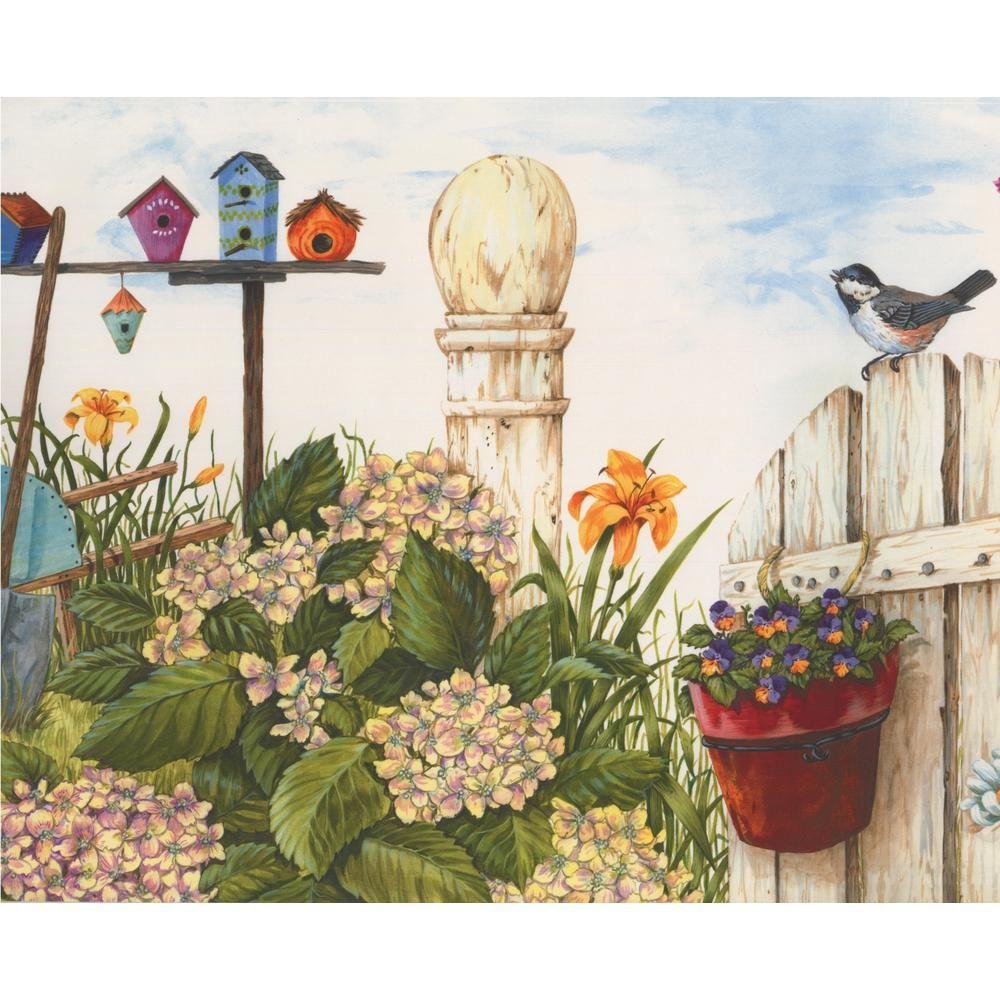 Retro Art Country Life White Fence Birds Birdhouses Yellow