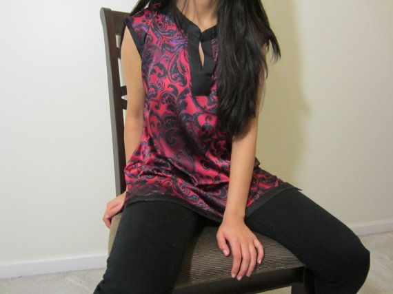 Fine Silk Georgette Red And Black Tunic In Medium by HumaCouture, $40.00