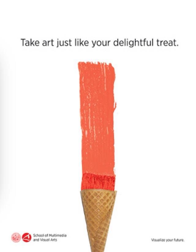 Art gets compared to the delightful feeling of having an ice cream.
