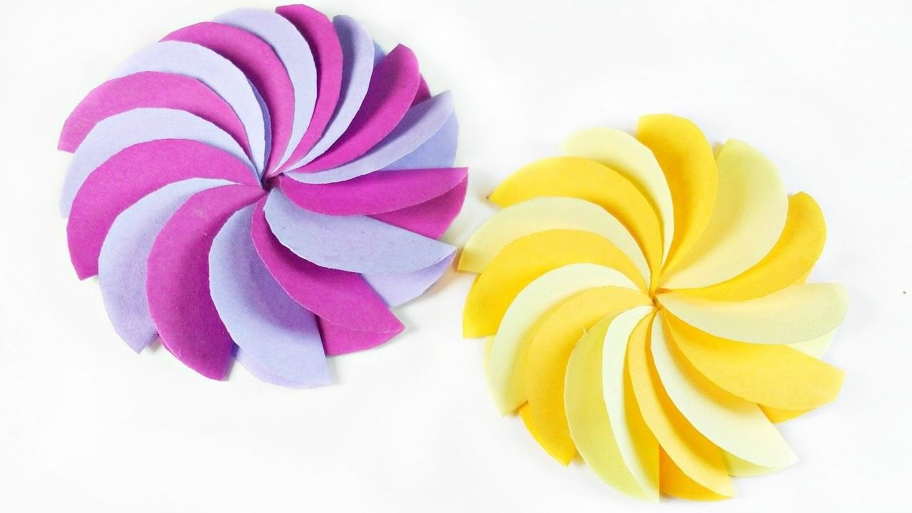 DIY paper Circle flower for wall backdrop decoration. arts and ...