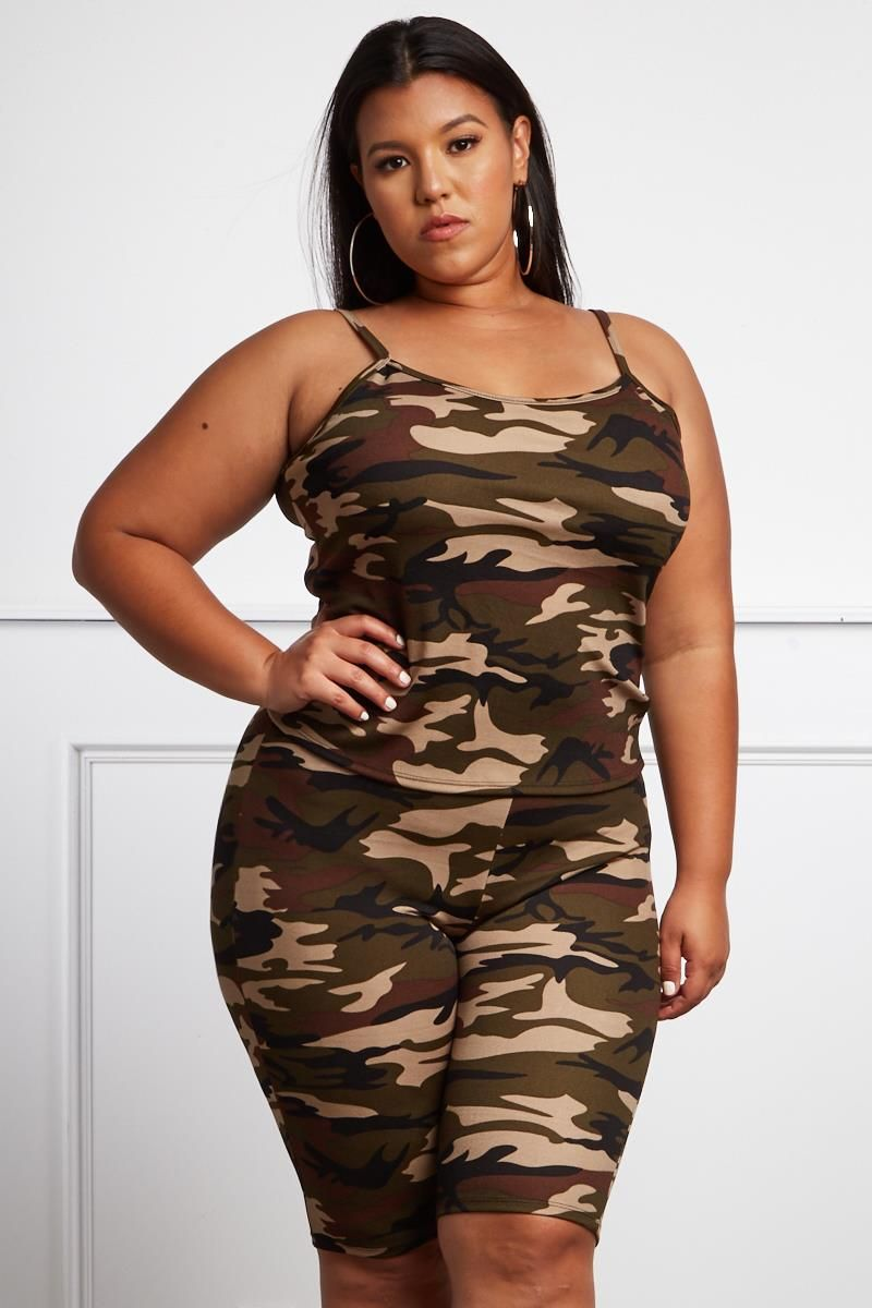 5025c131bd2 More And More Plus Size Camo Bike Shorts + Top Set