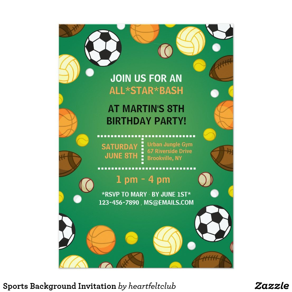 Sports Background Invitation Zazzle Com With Images Sports