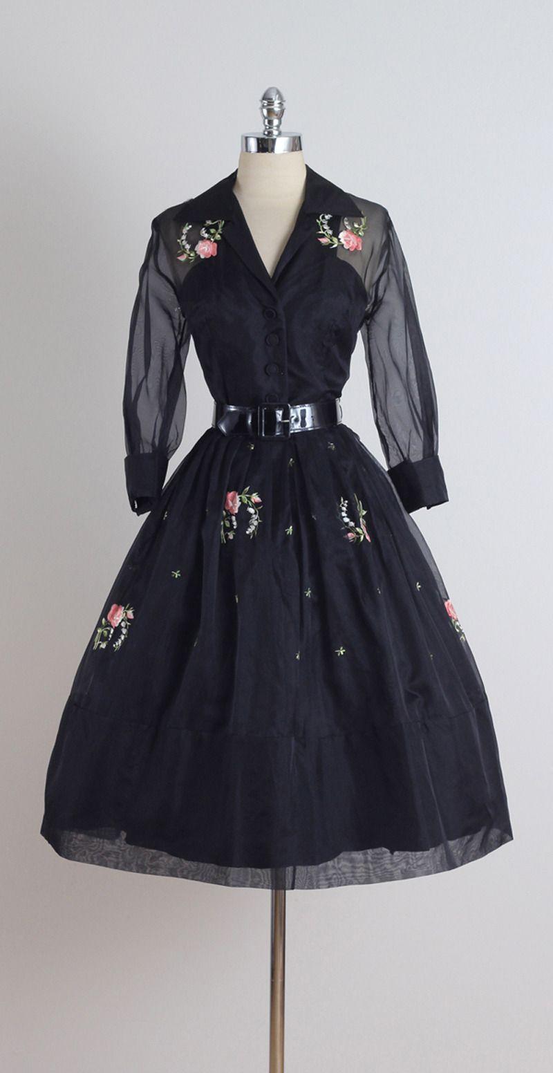 Vintage 1950s Black Floral Embroidered Organza Cocktail Dress