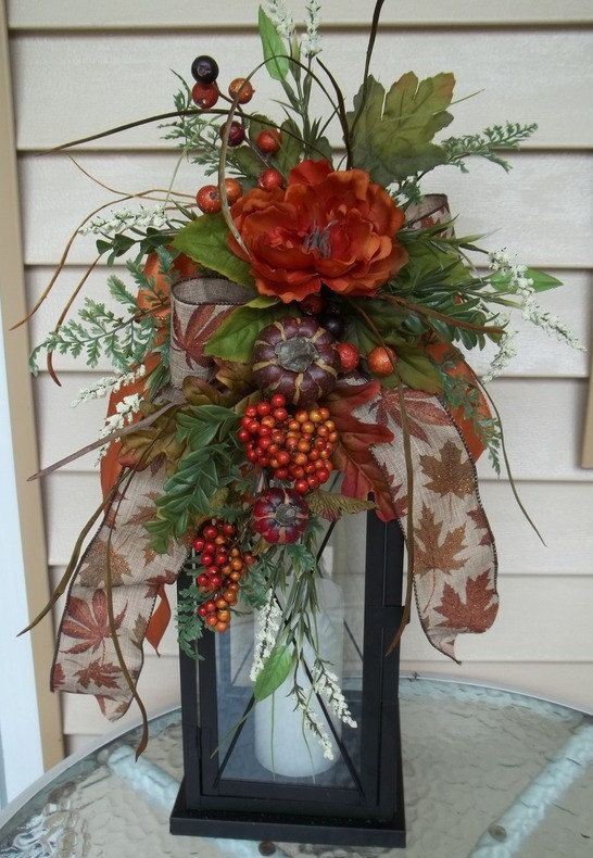 """CELEBRATE FALL"" - Decorative Fall - Thanksgiving Lantern Swag by DecorClassicFlorals on Etsy, $39.95"